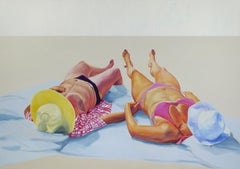 Couple 2 - Contemporary Figurative Oil Painting, Realism, Sun, Beach and People