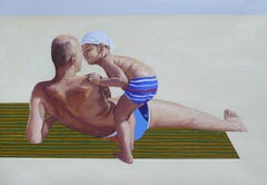 Dawidek (Father And Son) - Contemporary Figurative Oil Painting, Beach, Realism