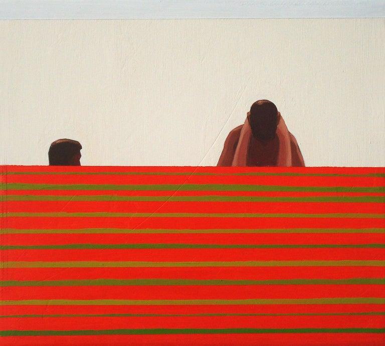 Julita Malinowska Abstract Painting - Erotic - Contemporary Figurative Oil Painting, Beach View, Realism, Minimalistic