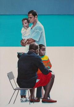 Fathers - Contemporary Figurative Oil Painting, Sea, Beach View, Realism, Joyful