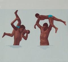 Feminine & Masculine XV - Modern Figurative Oil Painting, Beach View, Realism