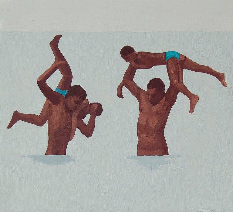 Julita Malinowska Landscape Painting - Feminine & Masculine XV - Modern Figurative Oil Painting, Beach View, Realism