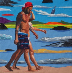 Garbage - Modern Figurative Oil Painting, Sea View, Beach, Realism, Colourful