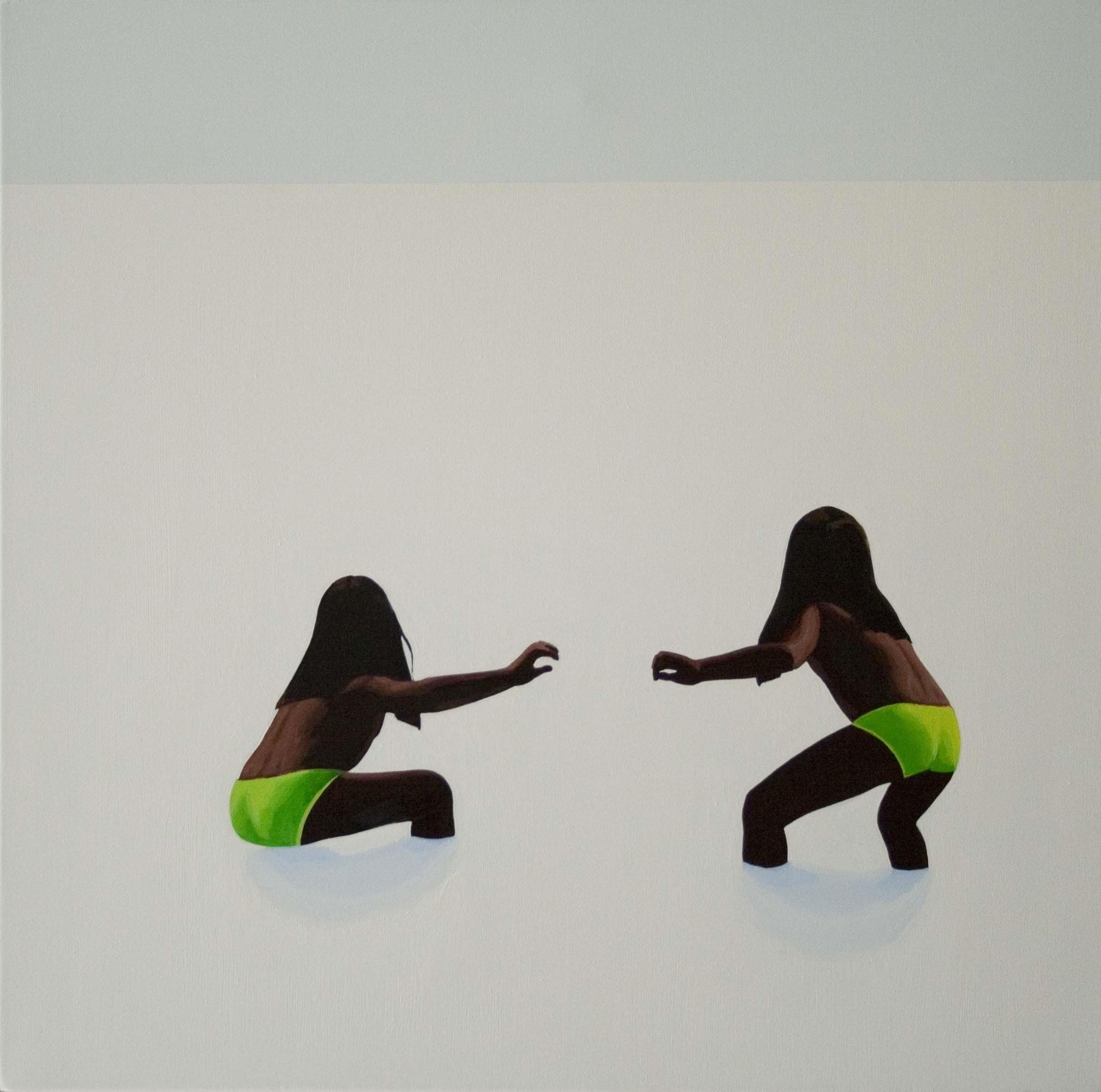 Gestures XVI - Contemporary Figurative Oil Painting, Landscape, Beach View