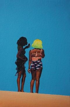 Girls 1 - Modern Figurative Oil Painting, Beach View, Realism, Women Portrait