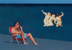 Girls And A Cigar - Three Nereids, Modern Figurative Painting, Sea View, Realism