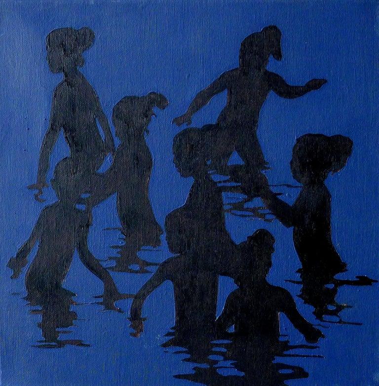 Julita Malinowska Abstract Painting - Girls Playing - Modern Figurative Oil Painting, Beach View, Realism, Joyful