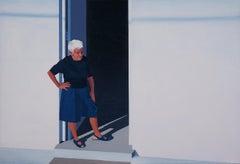 Grandma - Original Oil Female Portrait Painting, Realism, Cityscape, Modernism