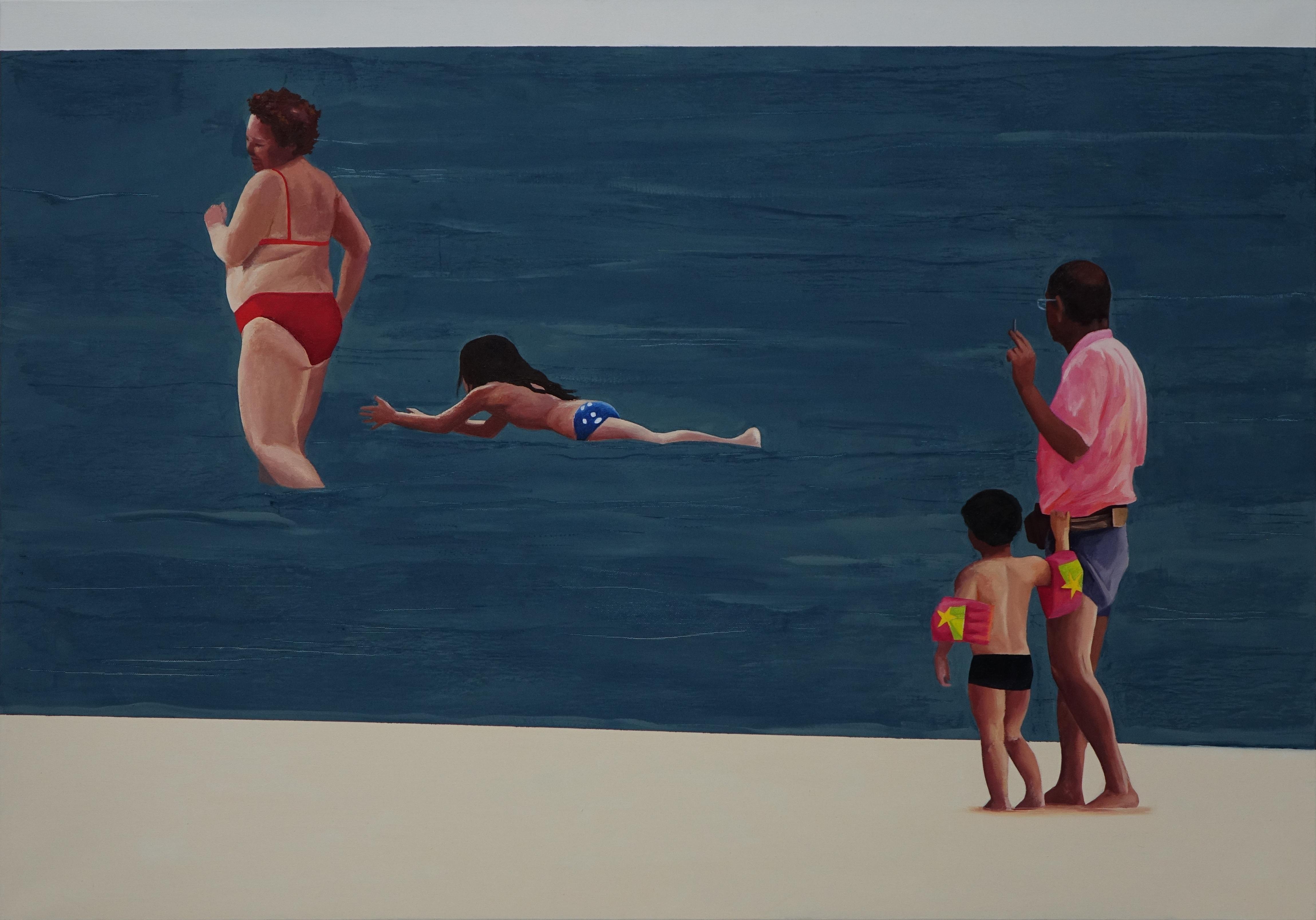 Grandparents - Contemporary Figurative Oil Painting, Sea View, Realism, Joyful