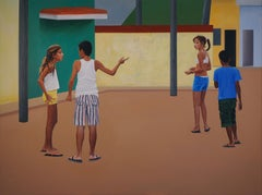 Guys - Large Format, Modern Oil Painting, Realism, Colourful, Cityscape, Street