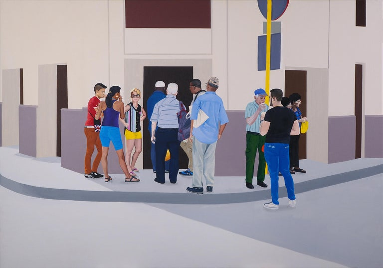 Julita Malinowska Landscape Painting - Ice Cream - Contemporary Figurative Oil Painting, Realism, Modernism, People