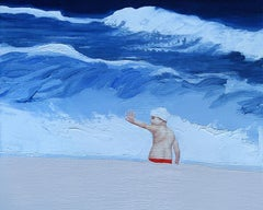 Joy II - Contemporary Figurative Oil Painting, Sea View, Realism, Joyful, Child