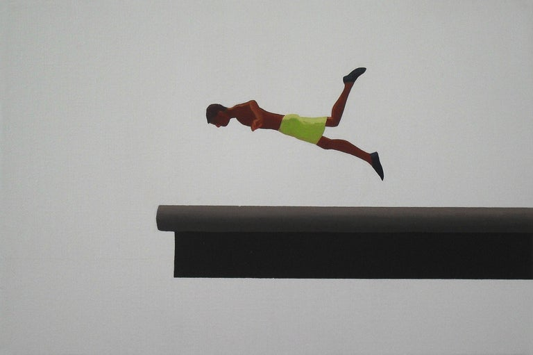 Julita Malinowska Abstract Painting - Jump 8 - Modern Figurative Minimalistic Oil Painting, Sea View, Realism