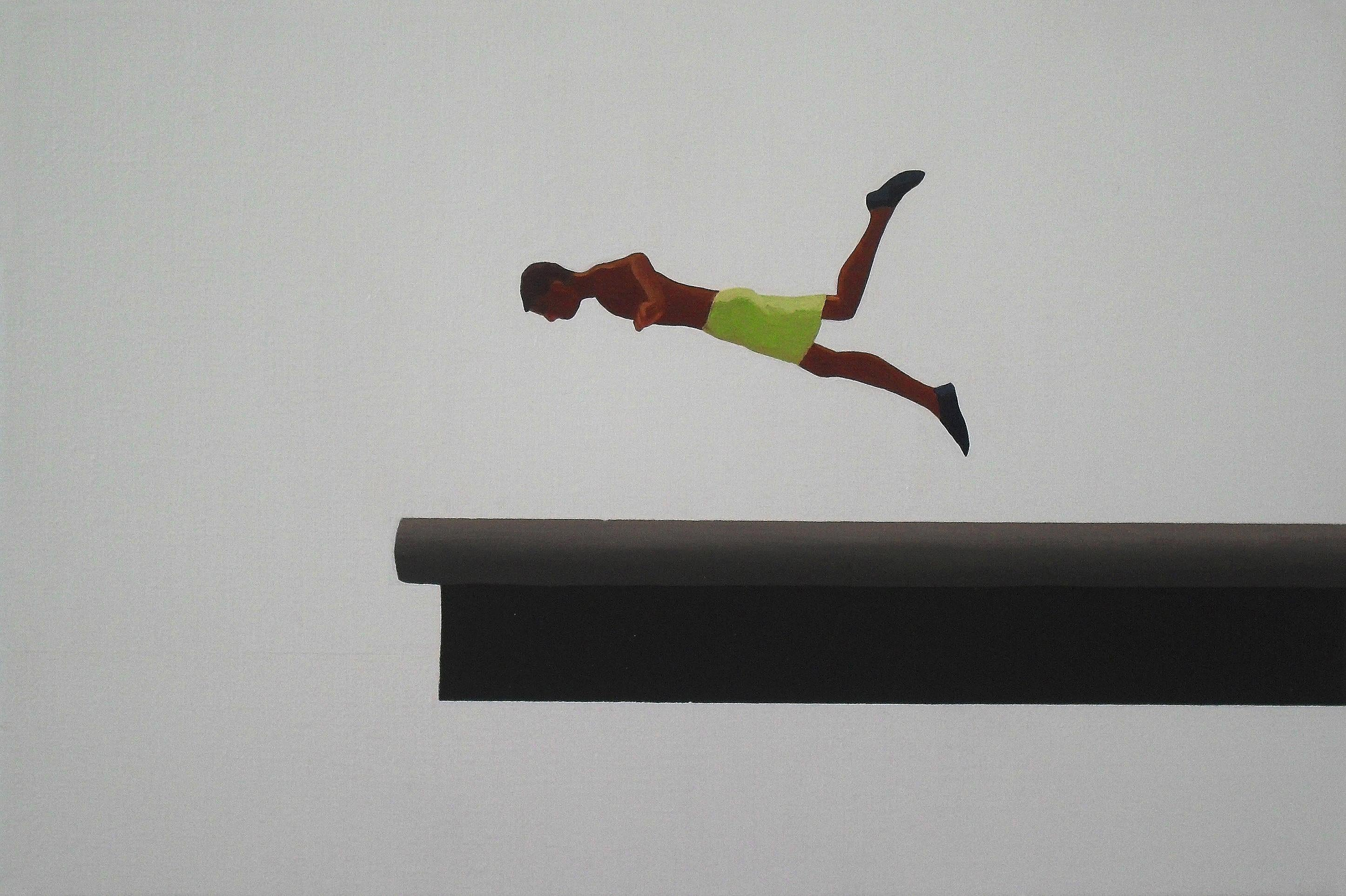 Jump 8 - Modern Figurative Minimalistic Oil Painting, Sea View, Realism