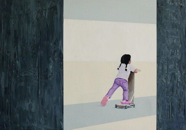 Julita Malinowska Figurative Painting - Kids Scooter - Contemporary Figurative Oil Painting, Child, Joyful, Realism