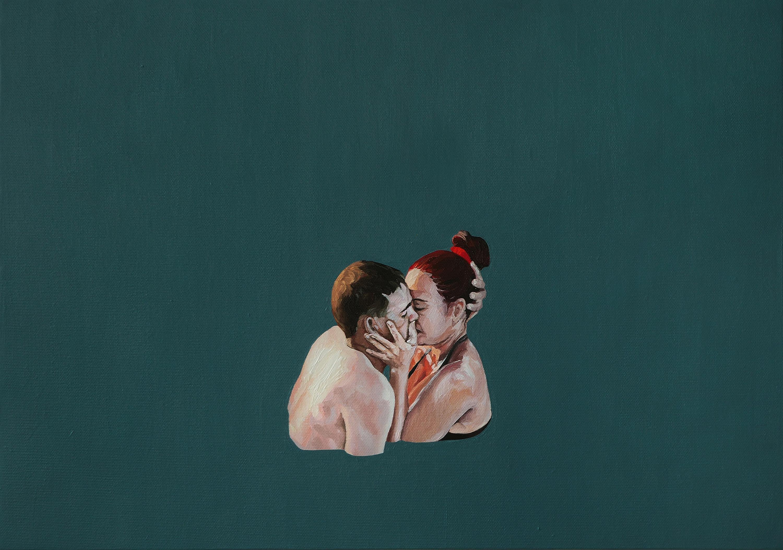 Kiss - Contemporary Figurative Oil Painting, Love, Joyful, Realism, Minimalism