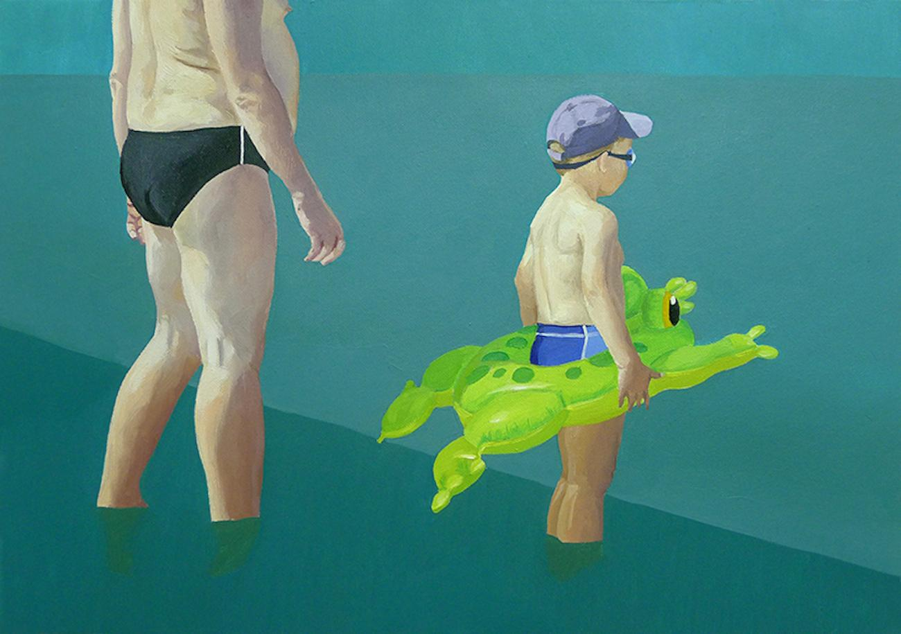 Little Frog - Minimalistic Figurative Oil Painting, Beach, Realism, Seascape
