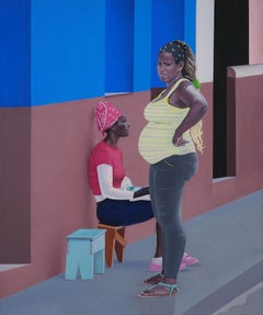 Mum II - Modern Figurative Oil Painting, Realism, City Scape, Women, Street Art