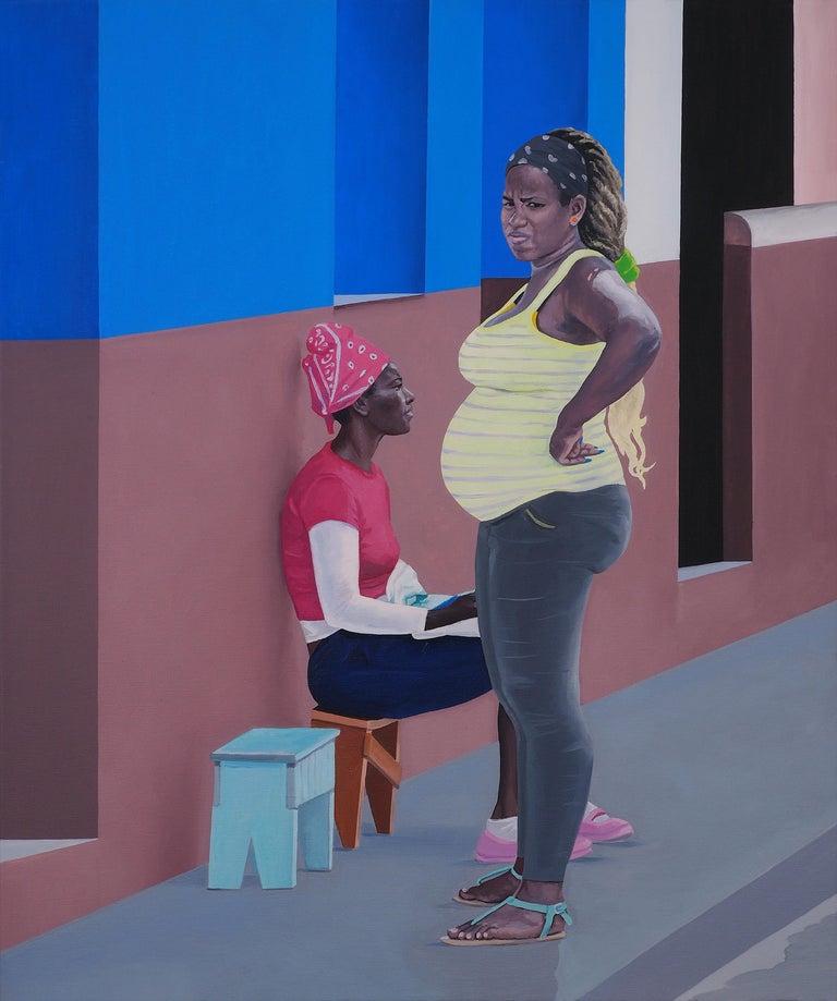 Julita Malinowska Figurative Painting - Mum II - Modern Figurative Oil Painting, Realism, City Scape, Women, Street Art