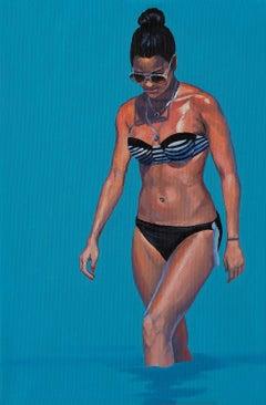 Pensive Girl 2 - Modern Figurative Female Portrait Painting, Sea View, Realism