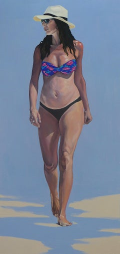 Pregnant - Contemporary Figurative Oil Painting, Sea, Beach View, Realism, Woman