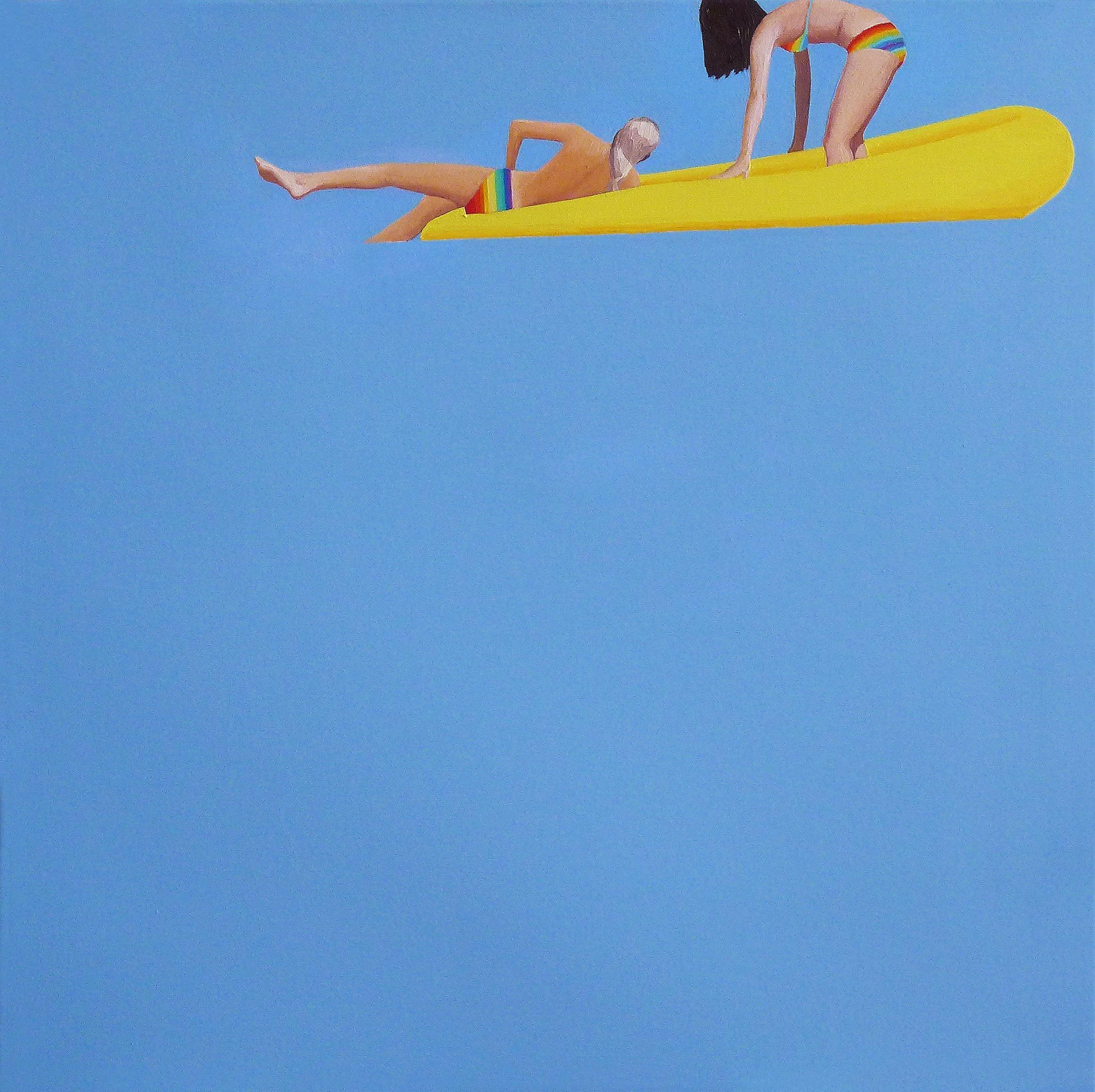 Rainbow - Minimalistic Figurative Oil Painting, Beach View, Realism, Seascape
