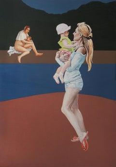 Selfie - Original Oil Self-Portrait Painting, Realism, Modernism, Mother, Child