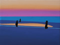 Sunset 3  - Modern Figurative Oil Painting, Landscape View, Colourful Realism