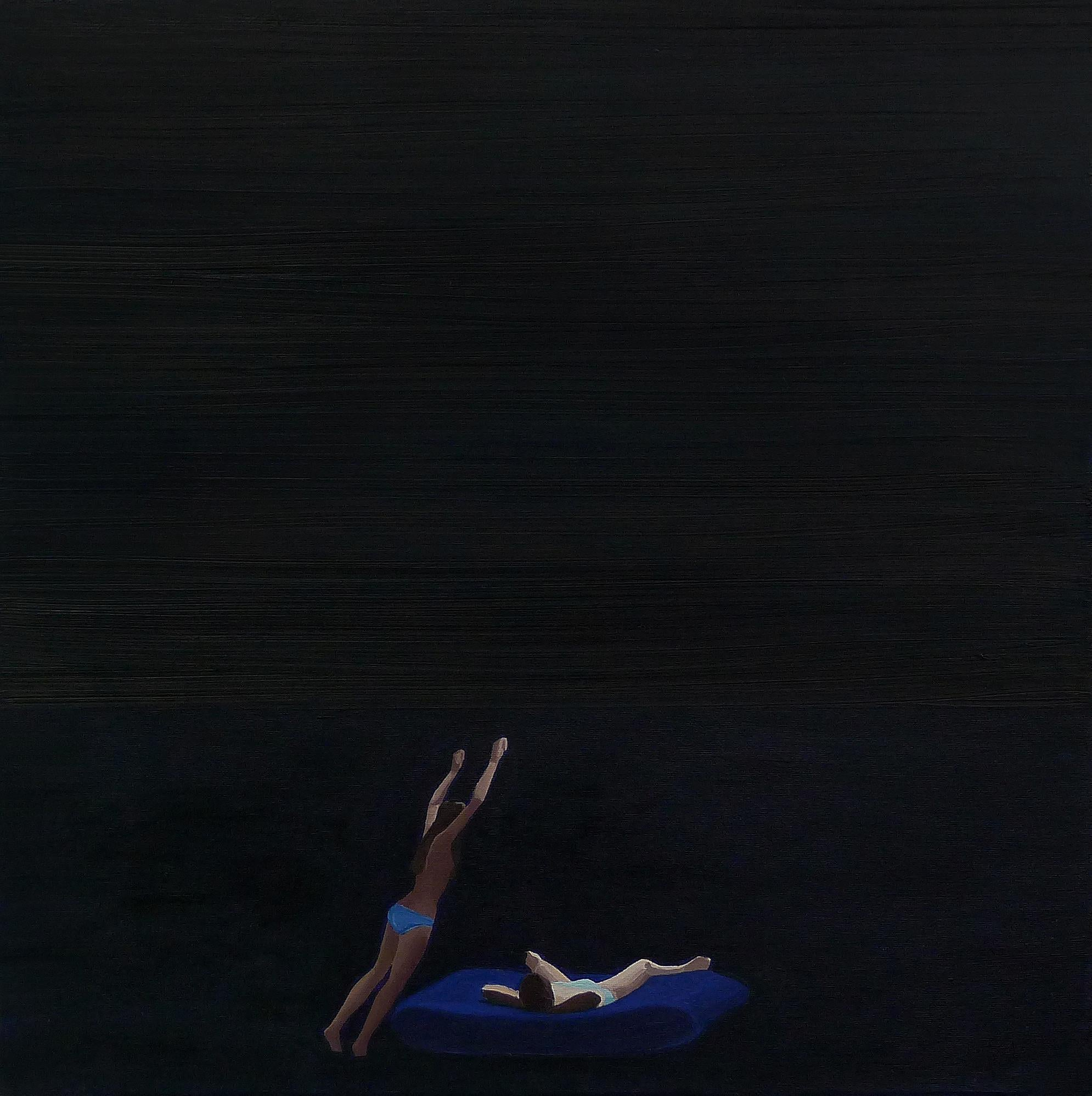 Sunset I - Minimalistic Figurative Oil Painting, Seascape, Jump Into The Water