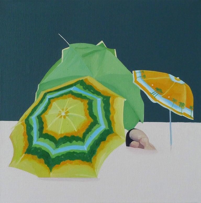 Julita Malinowska Figurative Painting - Sunshades - Contemporary Figurative Oil Painting, Beach View, Realism,Colourful