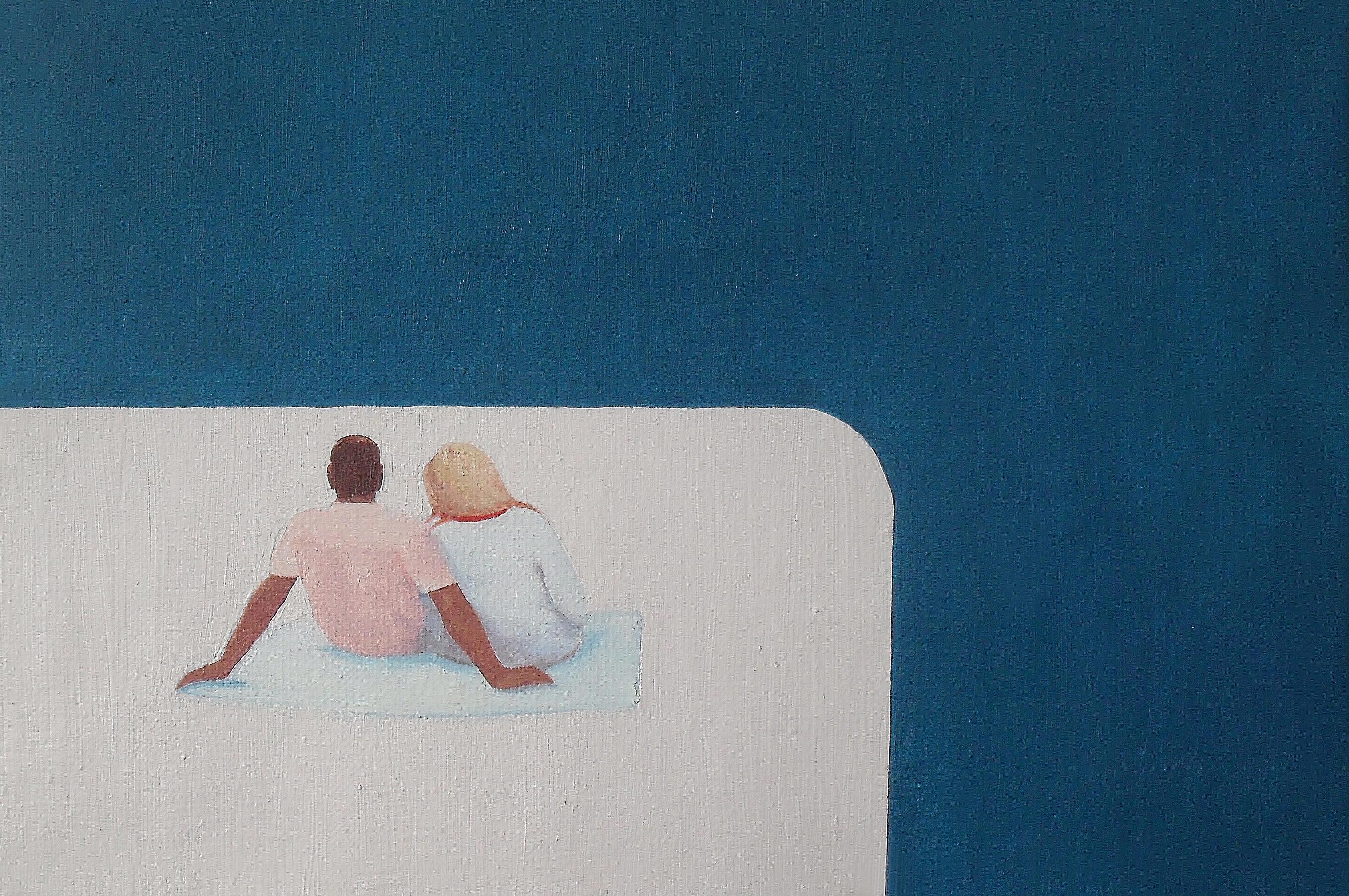The Beach V - Modern Figurative Minimalistic Oil Painting, Sea View, Love