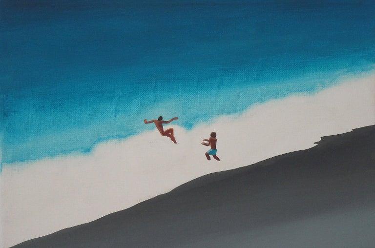 Julita Malinowska Abstract Painting - The Black Beach - Modern Figurative Minimalistic Painting, Sea View, Energetic