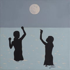 The Moon - Modern Figurative Oil Painting, Sea View, Landscape, Romantic Art