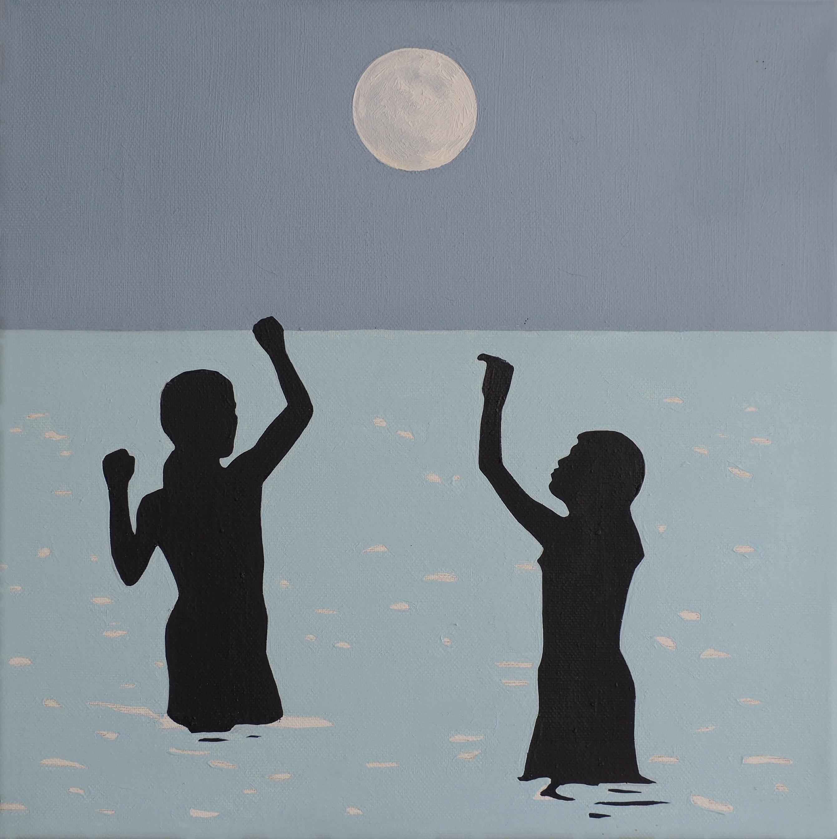 The Moon - Modern Figurative Oil Painting, Sea View, Landscape, Romantic Art