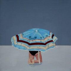 The Prayer - Modern Figurative Oil Painting, Beach View, Landscape, Sunshade