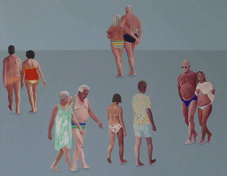 Julita Malinowska Figurative Painting - The Touch -Large Format Painting, Modern Figurative Oil Painting, Realism, Beach