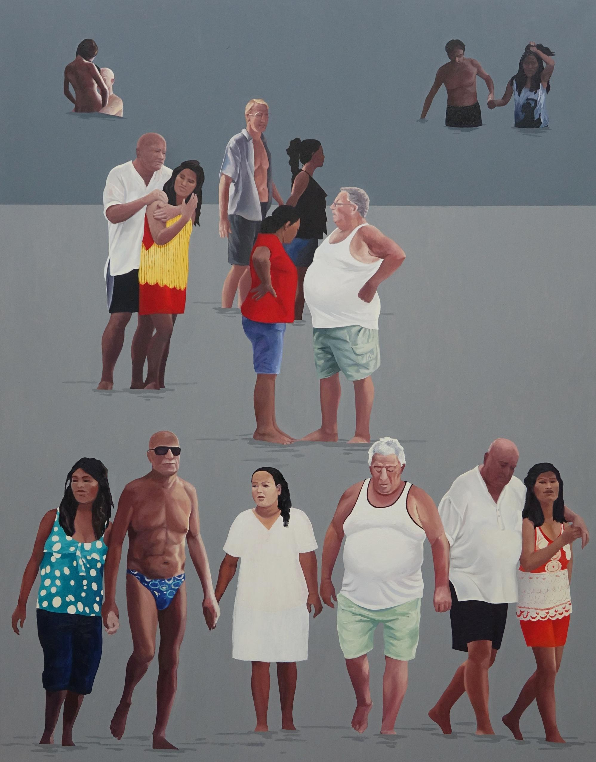Tourism - Large Format Painting, Modern Figurative Oil Painting, Beach View