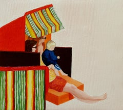 Two Mothers' Child - Modern Figurative Oil Painting, Beach View, Realism, Joyful