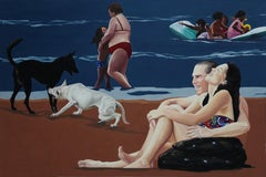 Victory II - Contemporary Figurative Oil Painting, Sea View, Realism, Dog, Beach