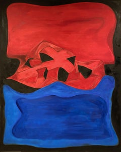 Red with Black & Blue, Painting, Oil on Canvas