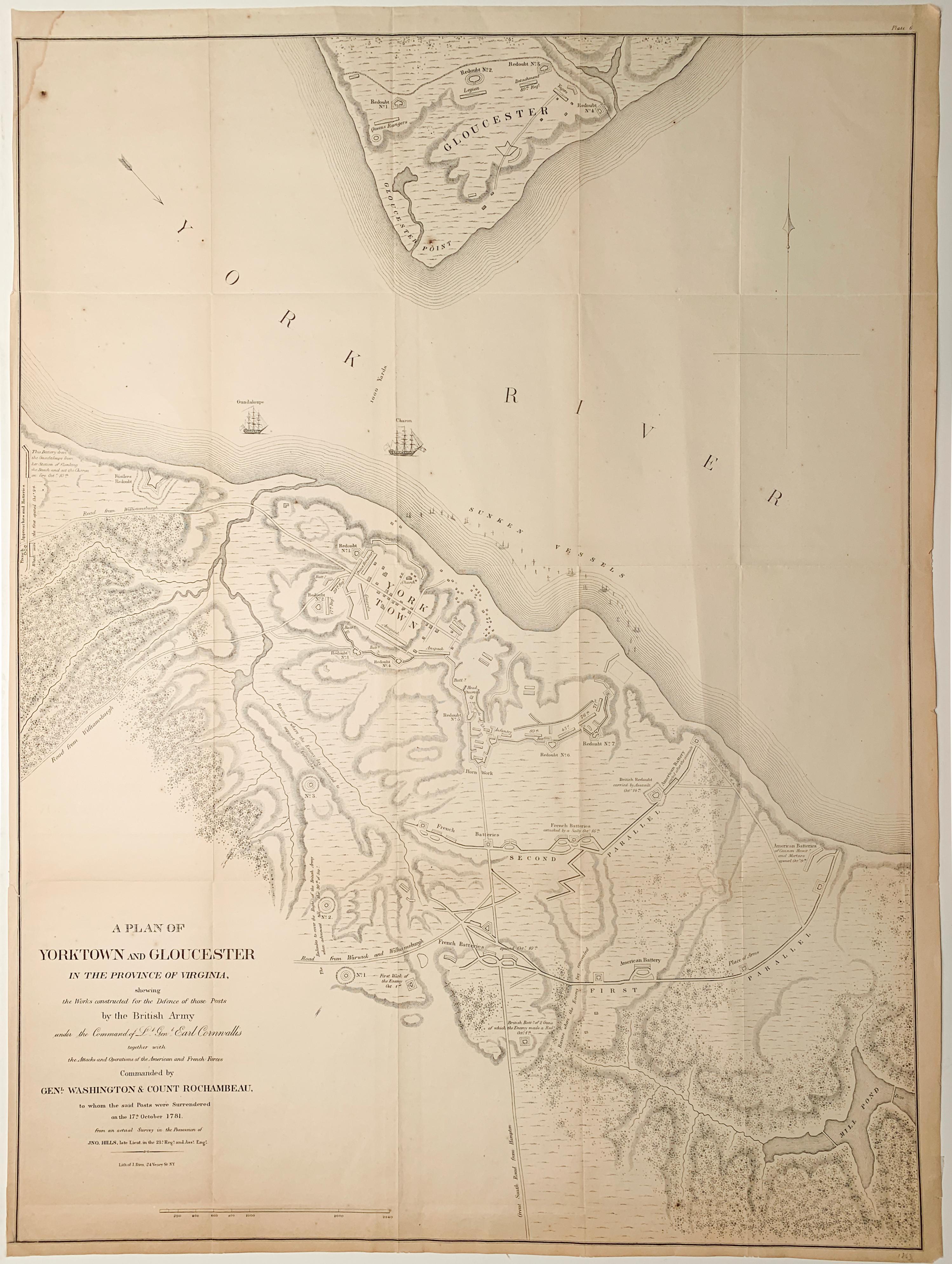 Map of the American Revolution Siege of Yorktown