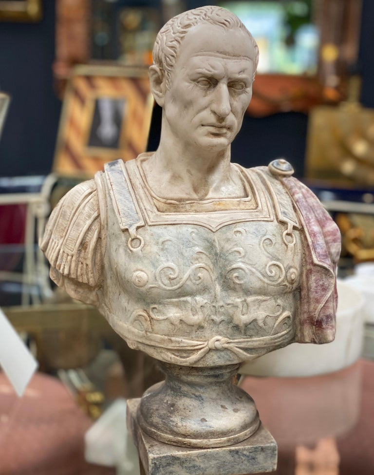 Julius Caesar bust sculpture, the Emperor made with marble dust. A fine large library bust of Julius Caesar, probably the most famous of all Roman emperors.  Gaius Julius Caesar was a Roman general and statesman and a distinguished writer of