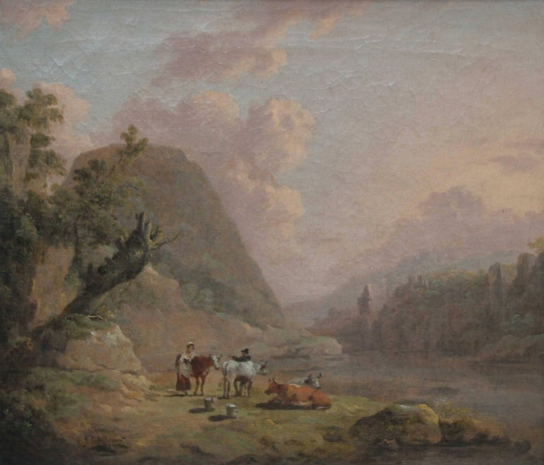 Cattle Resting in an Open Landscape - Old Master British art river oil painting  - Painting by Julius Caesar ibbetson