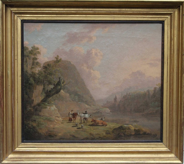 Julius Caesar ibbetson Landscape Painting - Cattle Resting in an Open Landscape - Old Master British art river oil painting