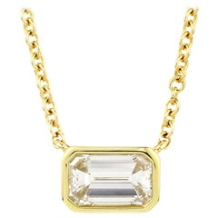 Julius Cohen 1.08 Carat Emerald Cut Diamond Necklace