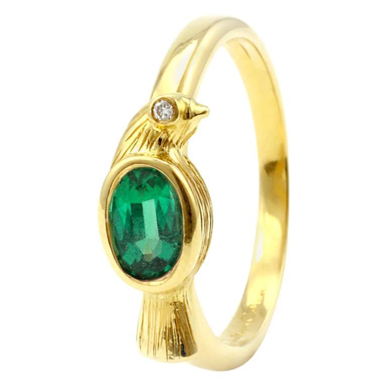 Julius Cohen 18 Karat Gold and Emerald Bird Ring