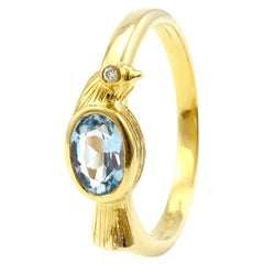 Julius Cohen Aquamarine Bird Ring