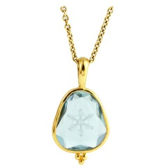 Julius Cohen Carved Aquamarine Snowflake Pendant Necklace