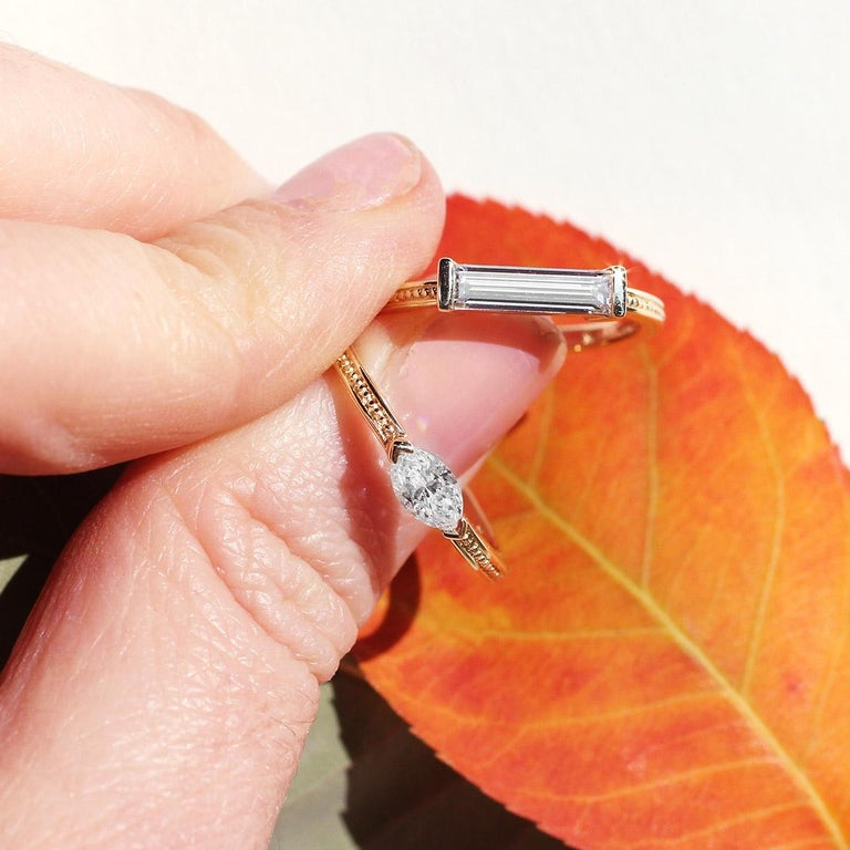 Julius Cohen Diamond Bar Ring In New Condition In Brooklyn, NY