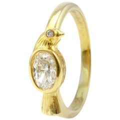 Julius Cohen Diamond Bird Ring in 18 Karat Gold, GIA Certified